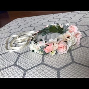 Blush pink and Ivory flower crown